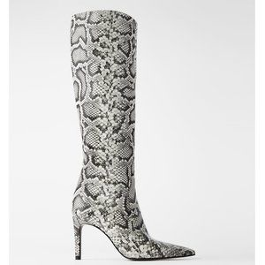 Zara Genuine Leather Animal Print Heeled Boots